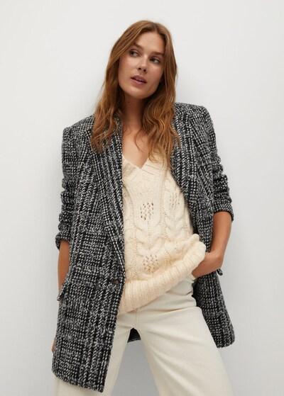 MANGO Blazer 'Anna' in grau / schwarz / weiß, Modelansicht