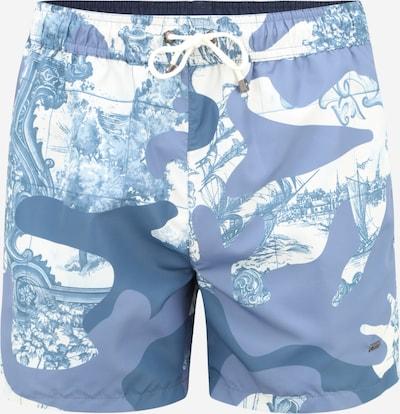 BOSS Casual Badshorts 'Spotfish' i marinblå / rökblå / ljusblå, Produktvy