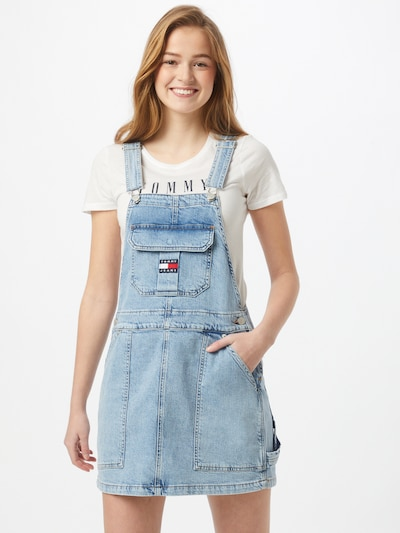 kék farmer Tommy Jeans Kantáros szoknyák, Modell nézet