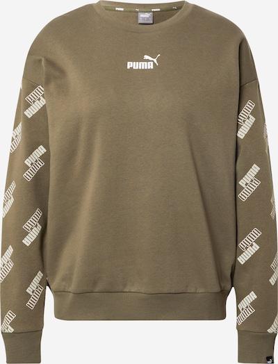PUMA Sportisks džemperis, krāsa - tumši zaļš / balts, Preces skats