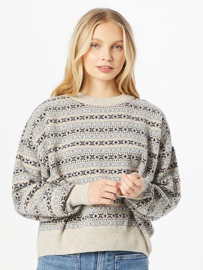KnowledgeCotton Apparel Pullover 'MYRTHE' in beige / blau / hellbraun, Modelansicht