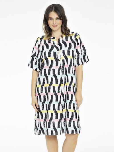 Yoek Kleid 'Brush' in ecru / gelb / rosa / schwarz, Modelansicht