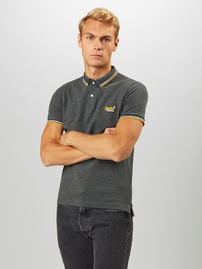 Superdry T-Shirt en jaune / gris foncé / blanc: Vue de face