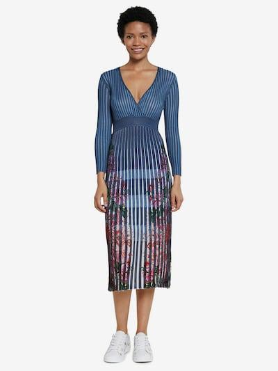 Desigual Robes en maille en bleu ciel / mélange de couleurs, Vue avec modèle