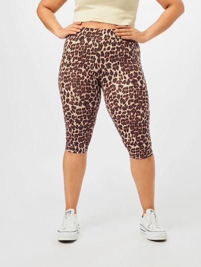 ONLY Carmakoma Pantalon 'TIME' en crème / marron / noir, Vue avec modèle