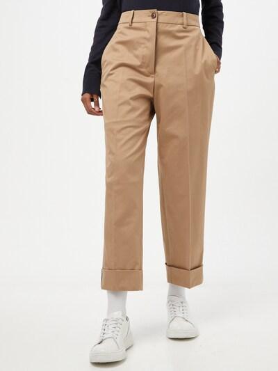 BOSS Casual Pantalon à plis 'Tachino' en camel, Vue avec modèle