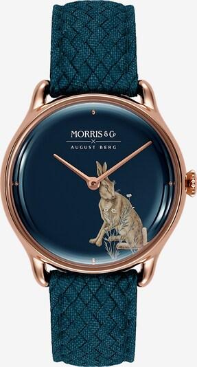 August Berg Analoog horloge 'MORRIS & CO Rose Gold Indigo Perlon 30mm' in de kleur Blauw / Rose-goud, Productweergave