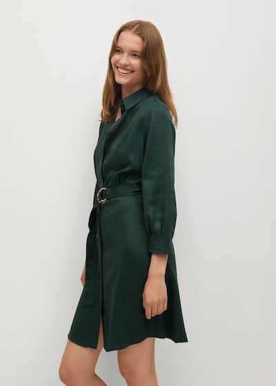 MANGO Košeľové šaty 'Cros' - tmavozelená, Model/-ka