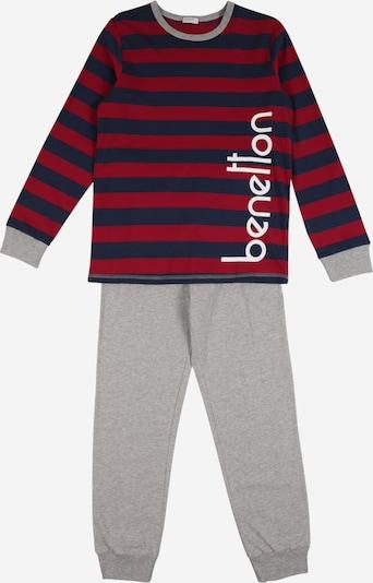 UNITED COLORS OF BENETTON Pidžama set u plava / siva melange / vatreno crvena, Pregled proizvoda