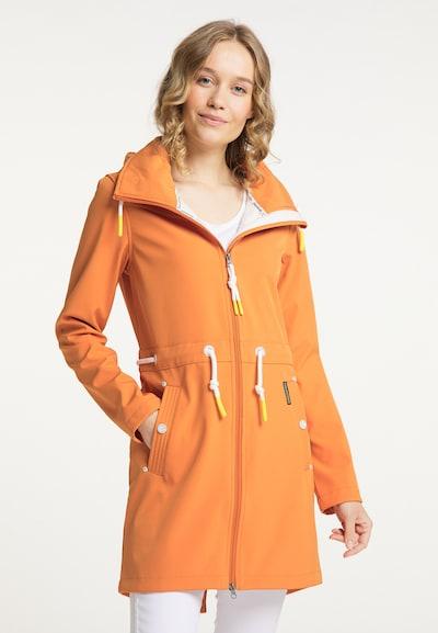Schmuddelwedda Mantel in orange, Modelansicht