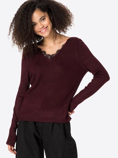ONLY Pullover 'JULIE' in weinrot / schwarz, Modelansicht