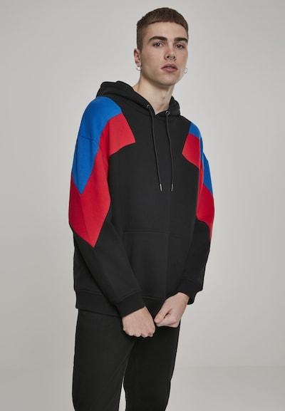 Urban Classics Sweat-shirt en bleu roi / rouge / noir, Vue avec modèle