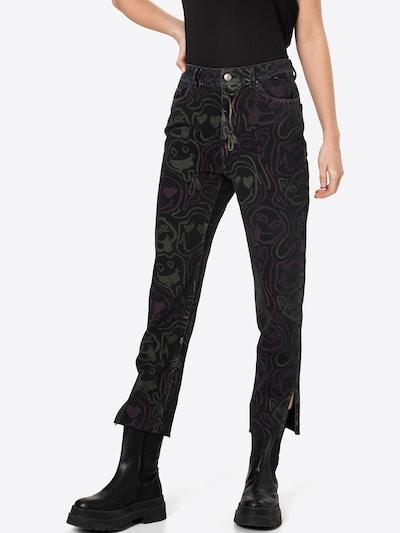 Pimkie Pantalon en kaki / rose foncé / noir denim, Vue avec modèle