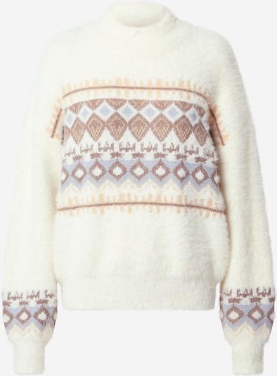 PIECES Pullover 'Reana' in beige / weiß, Produktansicht