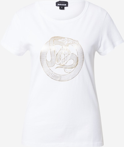 Tricou Just Cavalli pe auriu / alb, Vizualizare produs