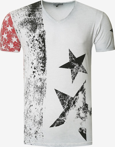 Rusty Neal Cooles T-Shirt mit V-Ausschnitt in grau, Produktansicht