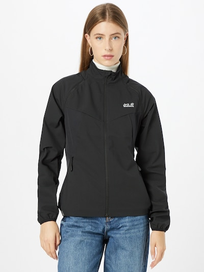 JACK WOLFSKIN Athletic Jacket 'TANDEM' in Black / White: Frontal view