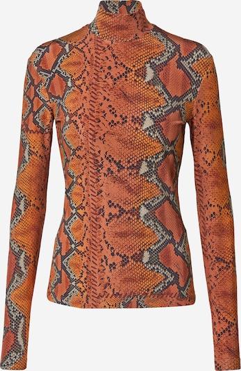 Just Cavalli Camiseta en marrón / gris / naranja, Vista del producto