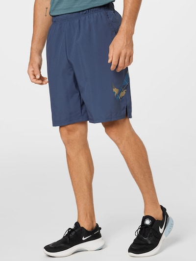 Sportinės kelnės iš NIKE, spalva – smėlio / mėlyna / tamsiai mėlyna / balta, Modelio vaizdas
