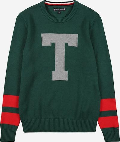 TOMMY HILFIGER Džemperis 'LETTER' pelēks / zaļš / sarkans, Preces skats