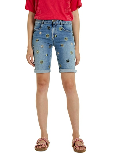 Desigual Shorts 'GRECIA' in blue denim / kiwi / orange / schwarz, Modelansicht