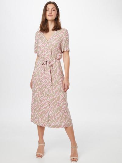 ICHI Kleid in beige / grau / pink, Modelansicht