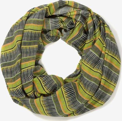 Ulla Popken Tunnelsjaal in de kleur Geel / Olijfgroen / Donkergroen, Productweergave