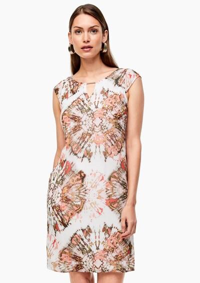 s.Oliver BLACK LABEL Kleid in gold / oliv / rosa / weiß, Modelansicht