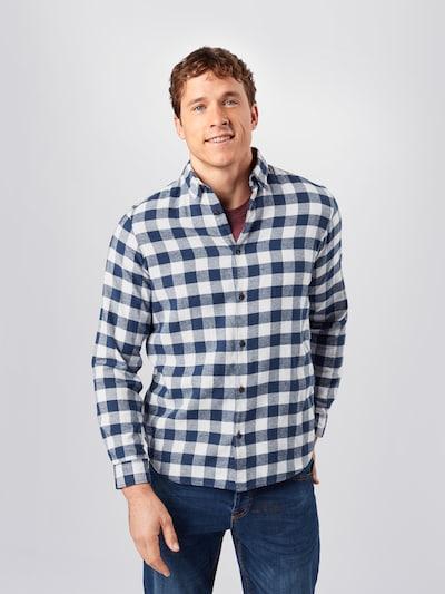 JACK & JONES Skjorte i mørkeblå / hvid: Frontvisning