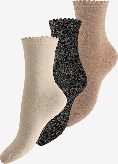 PIECES Socken 'Ebby' in beige / creme / schwarz, Produktansicht