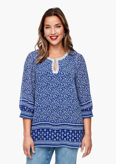 TRIANGLE Bluse in blau / weiß, Modelansicht