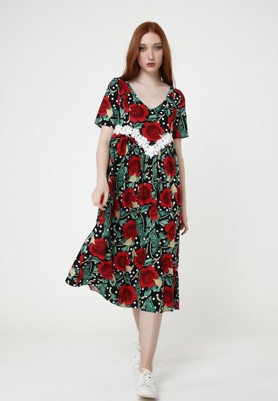 Madam-T Sommerkleid 'AIR' in beige / grün / rot / schwarz, Modelansicht