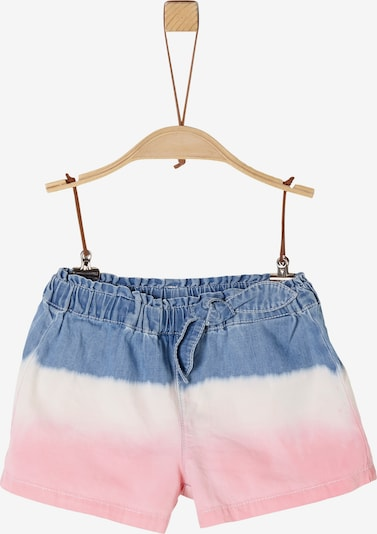 s.Oliver Junior Shorts in blue denim / mischfarben / hellpink / weiß, Produktansicht