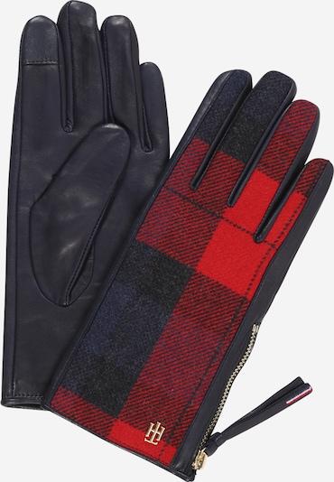 TOMMY HILFIGER Fingerhandschuhe in rot / schwarz, Produktansicht
