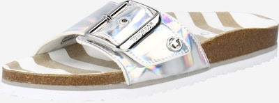TOM TAILOR Muiltjes in de kleur Bruin / Zilver / Wit, Productweergave