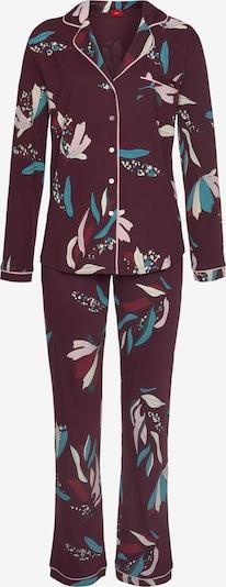 s.Oliver Pyjama in smaragd / bordeaux / weiß, Produktansicht