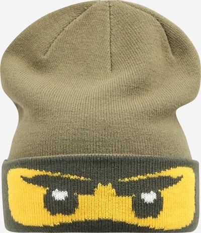 LEGO WEAR Bonnet 'ANTONY' en jaune / kaki / vert foncé / blanc, Vue avec produit
