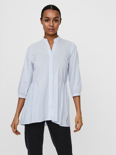 VERO MODA Blouse 'Clara' in Smoke blue / Nature white, View model