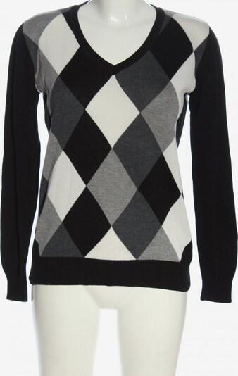Cecilia Classics V-Ausschnitt-Pullover in S in hellgrau / schwarz / weiß, Produktansicht