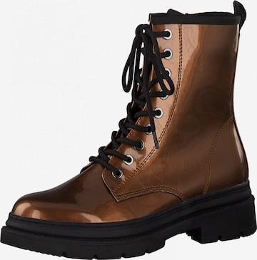 TAMARIS Lace-Up Ankle Boots in Bronze