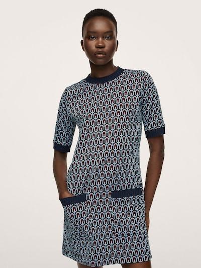 MANGO Pletené šaty 'Piera' - námornícka modrá / tmavomodrá / svetlomodrá / červená, Model/-ka