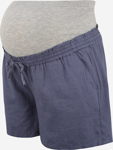 Mamalicious Curve Pants 'Linen' in Blue