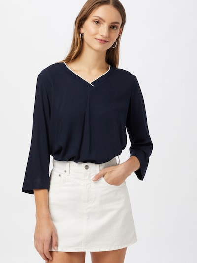TOM TAILOR Blouse in de kleur Donkerblauw / Wit, Modelweergave