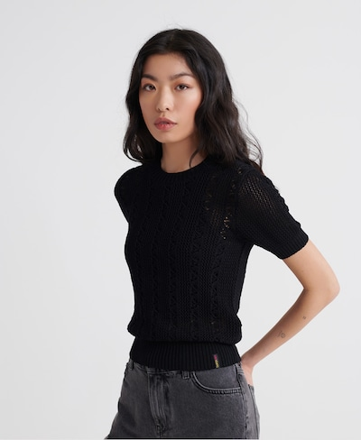 Superdry Strickpullover 'Bella Pointelle' in schwarz, Modelansicht