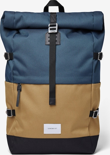 SANDQVIST Reppu 'BERNT' värissä tummabeige / yönsininen / kuninkaallisen sininen, Tuotenäkymä