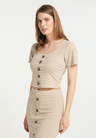 Usha Shirt in de kleur Beige / Wit: Vooraanzicht