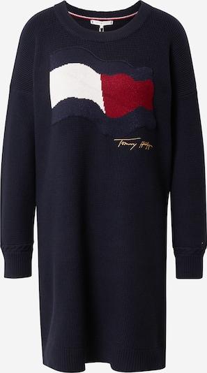 Megzta suknelė iš TOMMY HILFIGER, spalva – tamsiai mėlyna / Auksas / raudona / balta, Prekių apžvalga