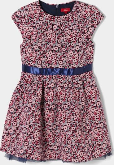 s.Oliver Festliches Kleid mit Satinblende in dunkelblau / rosa / rot / weiß, Produktansicht