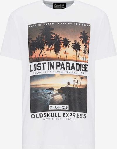 Oldskull T-shirt print in weiß, Produktansicht