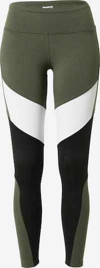 Sportinės kelnės iš REEBOK , spalva - rusvai žalia / juoda / balta, Prekių apžvalga